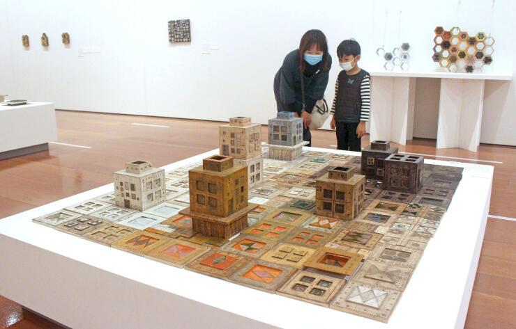 独創的な壁画や立体作品が並ぶ企画展「ルート・ブリュック 蝶の軌跡」=10日、新潟市中央区