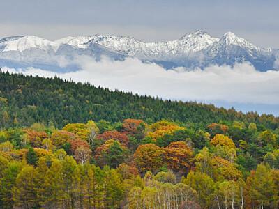 映える秋、迫る冬 八ケ岳連峰初冠雪