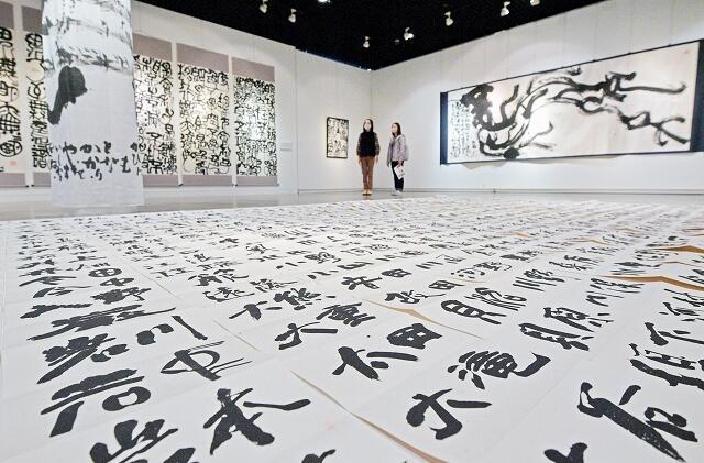 浜野さんの力作が並ぶ展示=10月21日、福井県福井市美術館