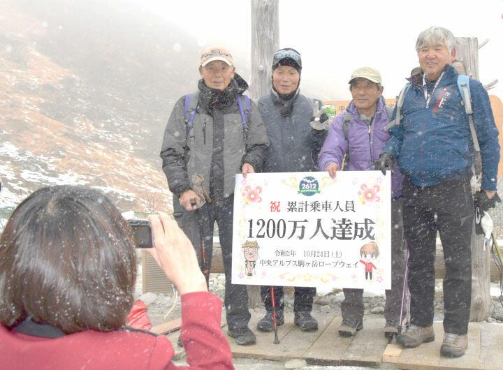 雪が舞う中、パネルを手に記念写真に納まる登山者