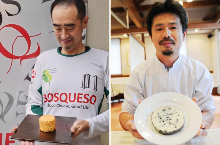 受賞したチーズ「KASUGA」を持つ是本さん(写真左)。受賞したチーズ「翡翠」を持つ塩川さん