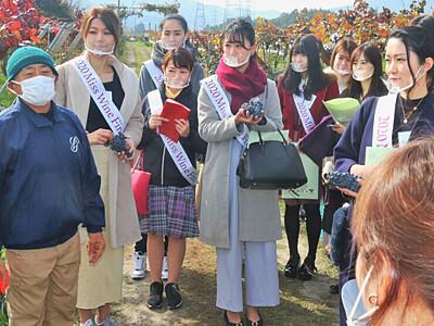 「ミス・ワイン」日本大会出場者 塩尻の農園で学び深める