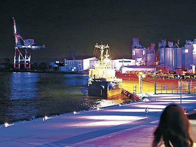 金沢港ライトアップ さらに華やかに 来月から49基新設 試験点灯