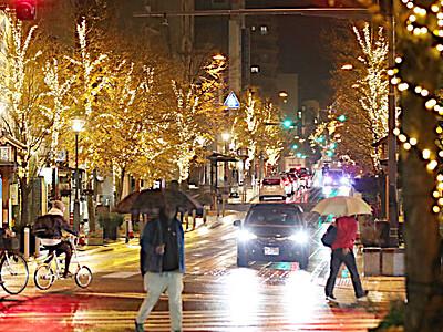 祈り輝く 長野市で「表参道イルミネーション」始まる