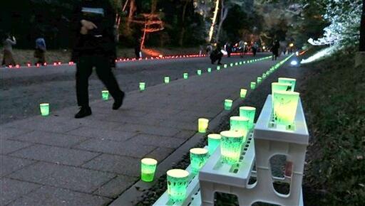 越前朝倉万灯夜の1100本の明かりが彩った明治神宮参道=10月30日、東京都渋谷区