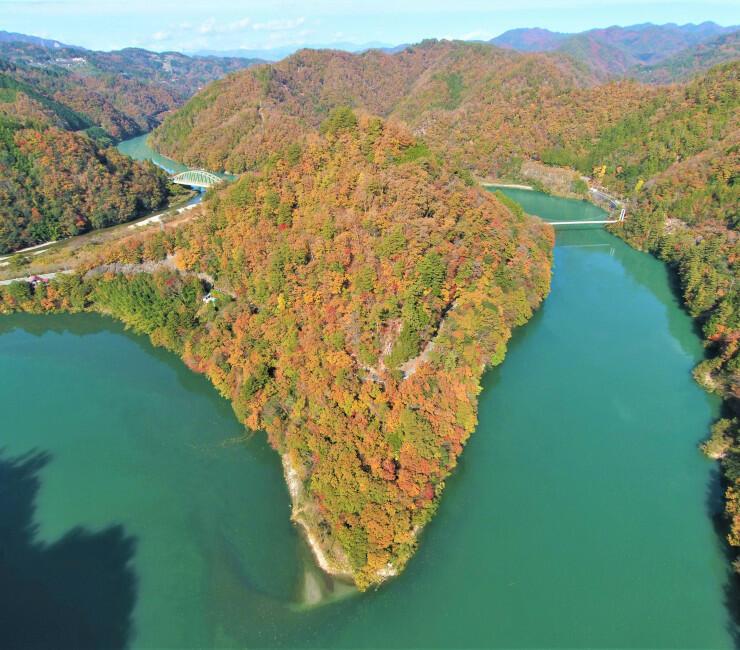 見頃を迎え色づく山々と大きくカーブする天竜川。手前左一帯は「信濃恋し」と呼ばれる景勝地=16日(河川管理者らの承諾を得て小型無人機で撮影)