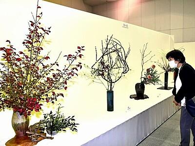 秋彩る生け花、9流派が一堂 福井で展示