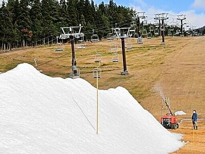 ゲレンデに映える白銀 スキージャム勝山で造雪機本格稼働