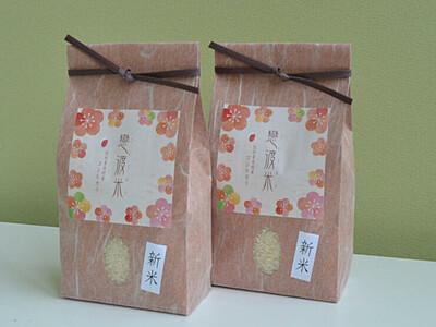 「恋渡米」青木との縁結びを 村内神社にあやかり発売