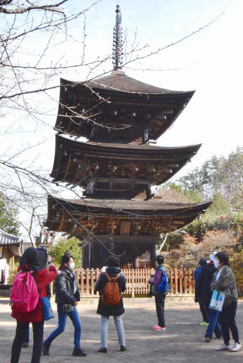前山寺の三重塔などを見て回った「健幸ウォーク」