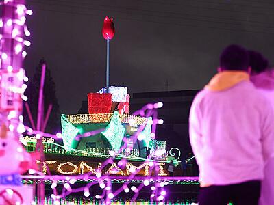 「光の花」咲き誇る 砺波チューリップ公園に電飾