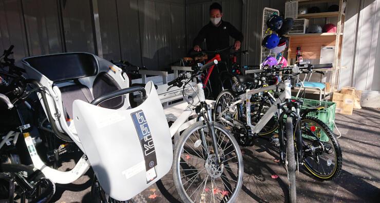 こだまの森が購入した自転車。新しい車庫で出番を待っている