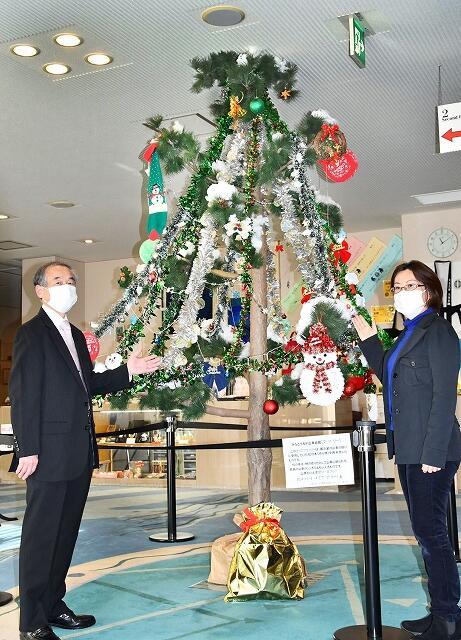 マツの木をクリスマスツリーに見立てた「クリスマツリー」=12月4日、福井県敦賀市みなとつるが山車会館