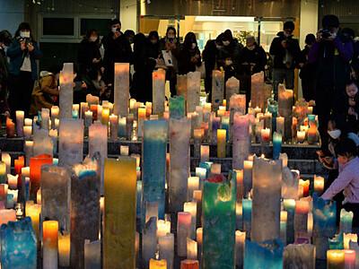 「安曇野アートヒルズ」迫る閉館 思い出照らすろうそくの灯