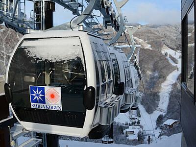 3台連なる新ゴンドラ 志賀高原「山の駅」からスキー場へ