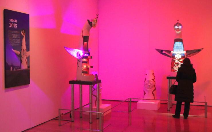 岡本太郎の芸術の世界が楽しめる展覧会=18日、新潟市中央区