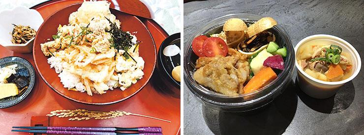 かづみ野の「魚津のかあちゃん丼」(左)と銀河食堂 掛の「一汁三菜」