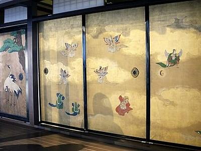 福招く御殿の絵画 金箔ふすまを特別公開 小浜市食文化館