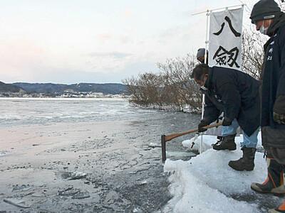御神渡り膨らむ期待 諏訪湖広範囲で結氷