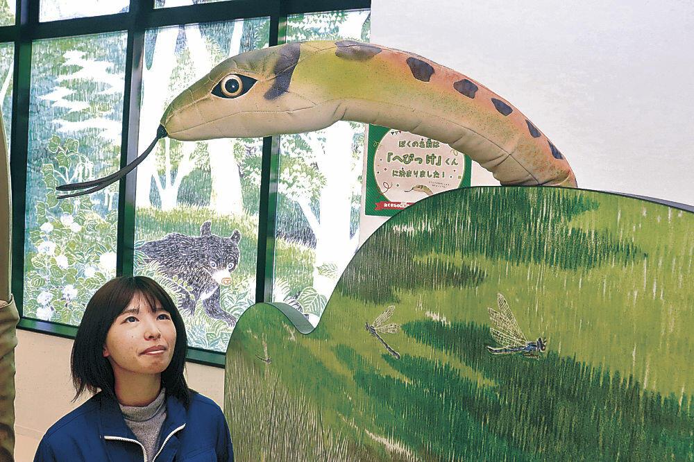 愛称が「へびっけ」に決まったヘビの縫いぐるみ=能美市立博物館「能美ふるさとミュージアム」