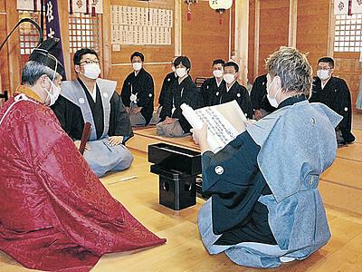 新当組、奉仕へ心新た 輪島・住吉神社で除厄祭