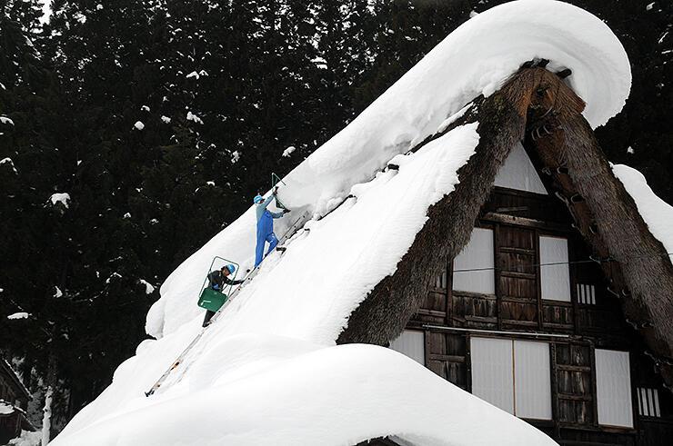 屋根雪下ろしの作業に励む長田組の社員=相倉合掌造り集落