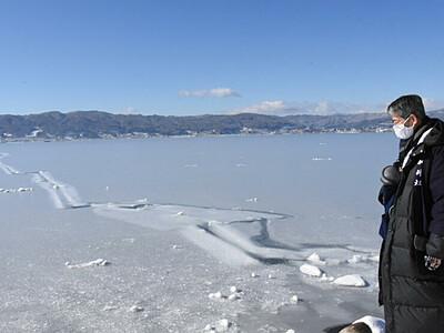 御神渡り出現へ、せり上がる期待 諏訪湖3季ぶり全面結氷
