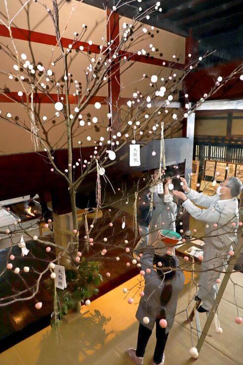 小正月行事の「団子の木」を飾り付ける職員ら=関川村下関