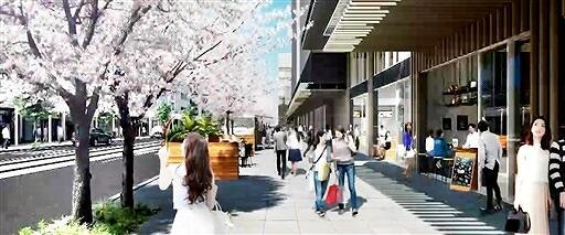再開発組合がホームページの動画で示した開業後の福井駅前電車通りのイメージ