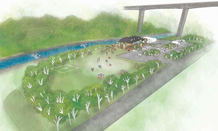 道の駅の完成イメージ図。後方の橋が中部横断道。右上から左下に斜めに通る道が国道299号