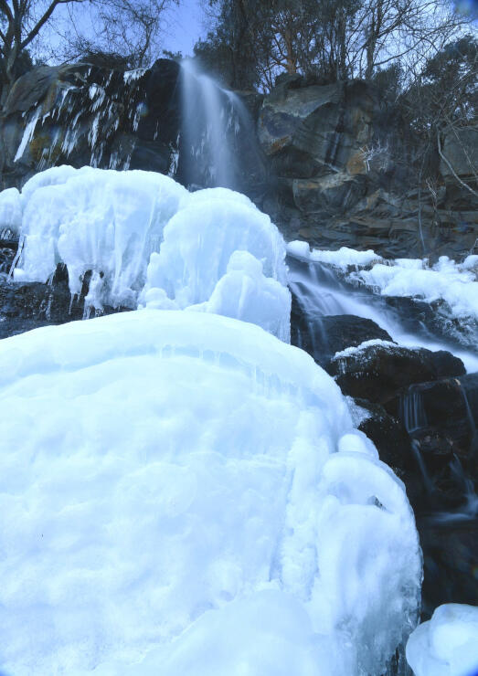 しぶきが凍って氷塊が出現した乙女滝=19日午前8時2分、茅野市北山