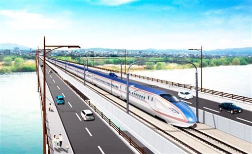 新幹線と道路の一体橋のイメージ(福井県提供)
