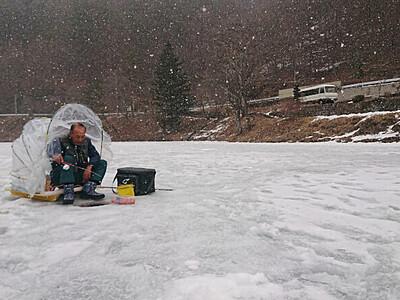 じっと穴釣り 冷え込む南相木・立岩湖