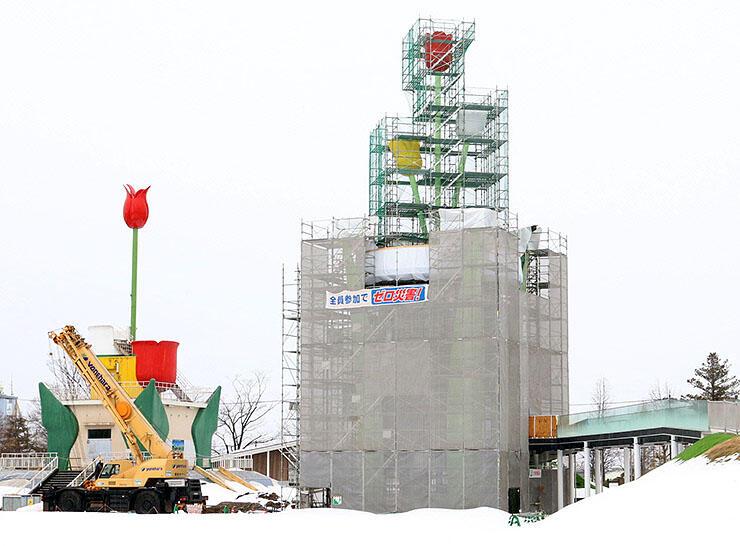 3色の花のオブジェが取り付けられた新チューリップタワー(右)。左は現在のタワー=砺波チューリップ公園