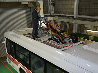 アルペンルート電気バス、来季へ 大町で点検・清掃
