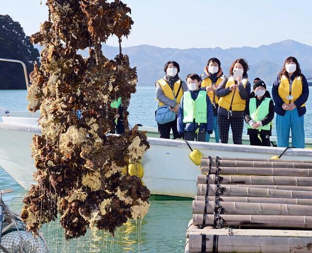 若狭かきの水揚げを見学した「海のふれあい教室」=2月6日、福井県小浜市仏谷沖合