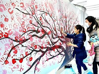 コロナ終息願い、手形の桜が満開 福井駅前ハピテラスで催し