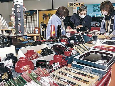 輪島塗とフグ料理堪能 あえの風冬まつり開幕 250万円セット展示