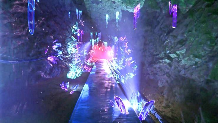 映像と実際の景色が組み合わさった、眼鏡越しに見える景色のイメージ(新潟放送提供)