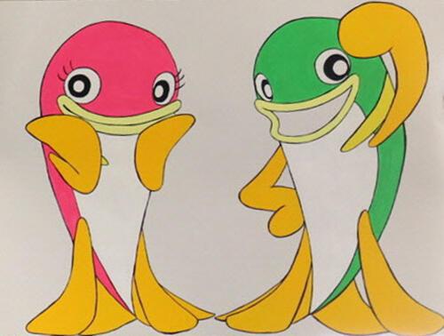 庄川地域のご当地キャラクターとなったあゆ夢くん(右)とあゆっピーちゃん