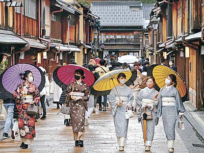着物と傘で金沢散策