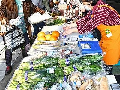大野市の七間朝市3月20日再開 地場産野菜や生花の店で七間通りにぎやか