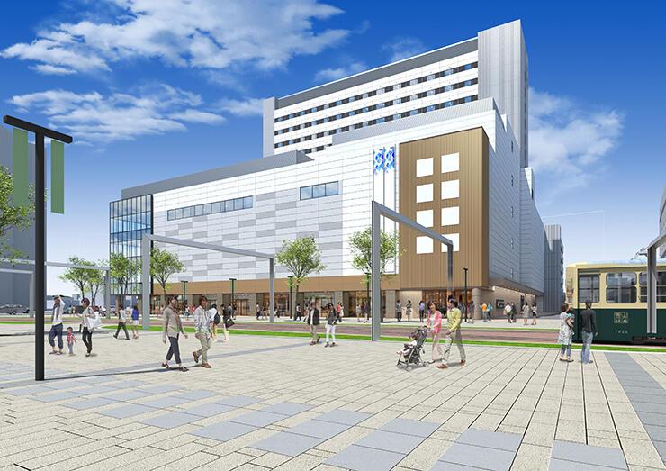 複合ビルの完成イメージ。1~4階が商業施設となる