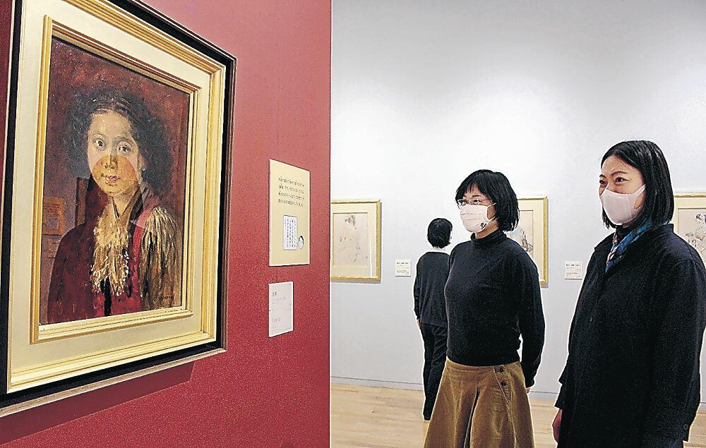 初公開された宮本画伯の未発表作品「娘像」=小松市宮本三郎美術館