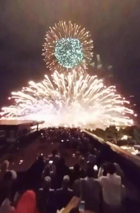 スマホに映し出される2019年全国新作花火競技大会の映像