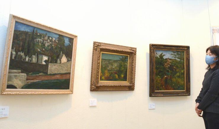 風景画などが並んだ清水多嘉示の没後40年記念展