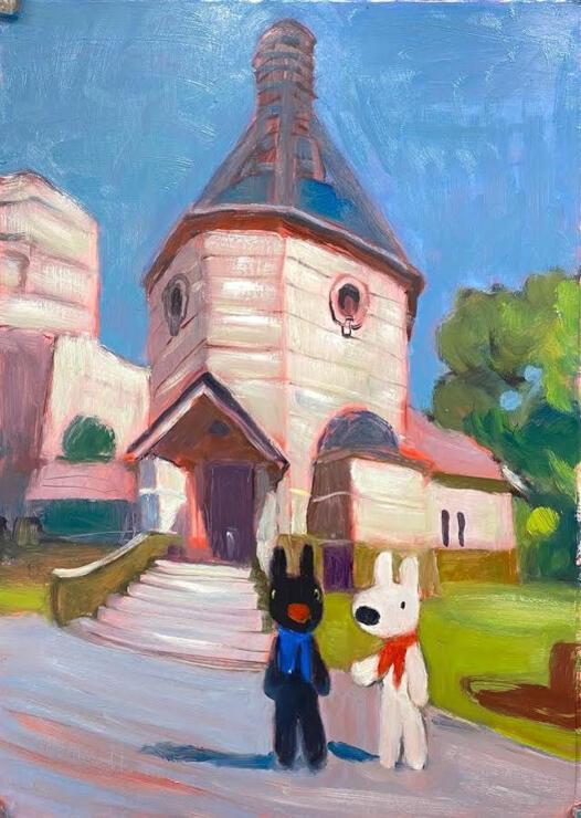 蕗谷虹児記念館の前に立つリサとガスパールを描いた「リサとガスパール しばたにくる」の下絵(蕗谷虹児記念館提供)