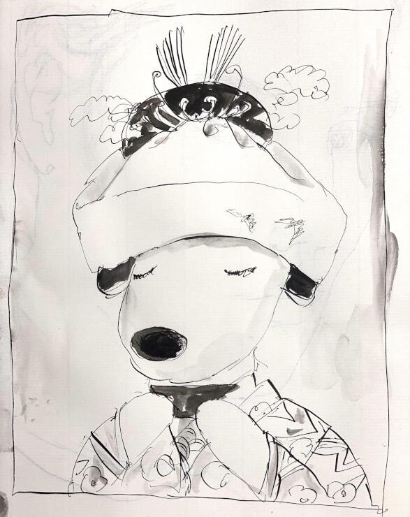蕗谷虹児の代表作「花嫁」の衣装を着たリサのスケッチ(蕗谷虹児記念館提供)