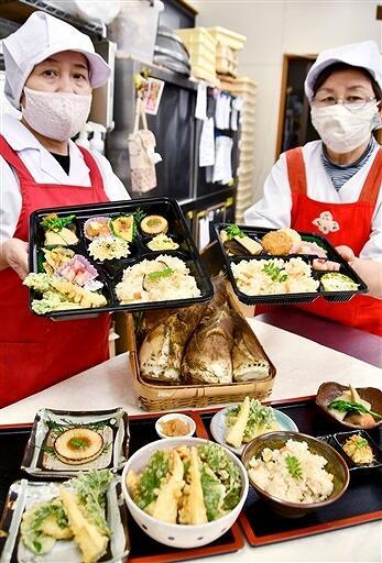 花みずき味人が10日から提供する「たけのこづくし弁当」と「たけのこめし定食」=4月8日、福井県越前町樫津