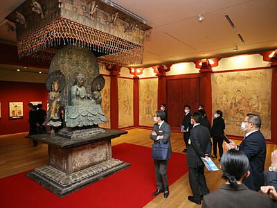 長野県立美術館10日開館 完成記念展、文化財を精緻に復元